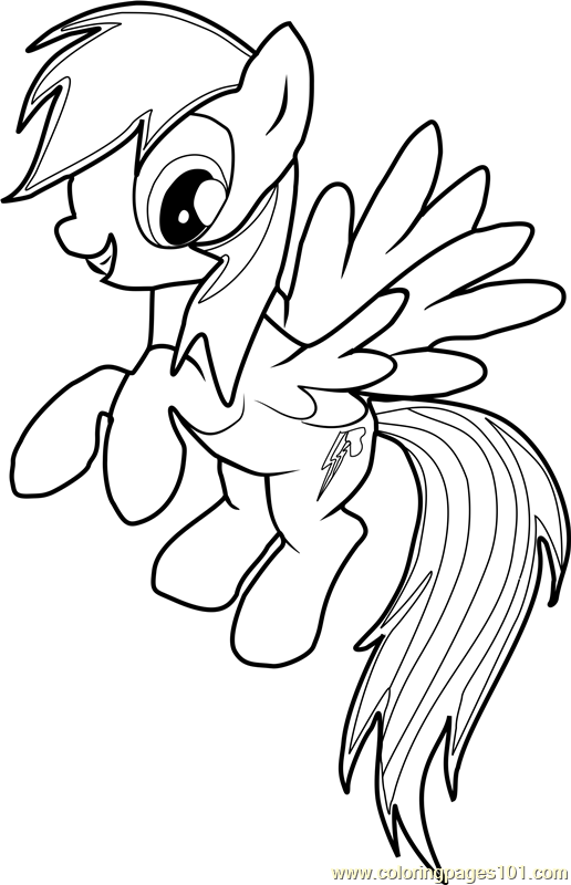 Rainbow Dash Coloring Page Free My Little Pony