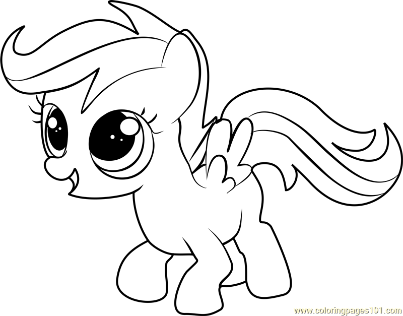My Little Pony Scootaloo Coloring Pages : Scootaloo coloring page free my little pony friendship