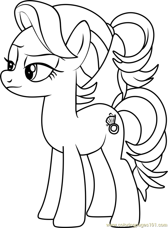 Young Spoiled Rich Coloring Page Free My Little Pony