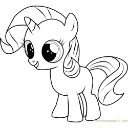 Filly Rarity Free Coloring Page for Kids