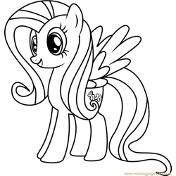 Fluttershy Free Coloring Page for Kids