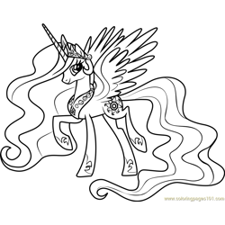 Princess Celestia Free Coloring Page for Kids