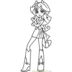 Sunset Shimmer Human Free Coloring Page for Kids