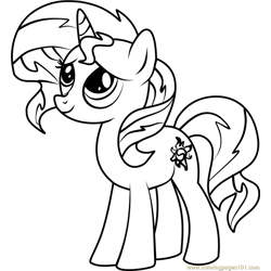 Sunset Shimmer Pony Free Coloring Page for Kids