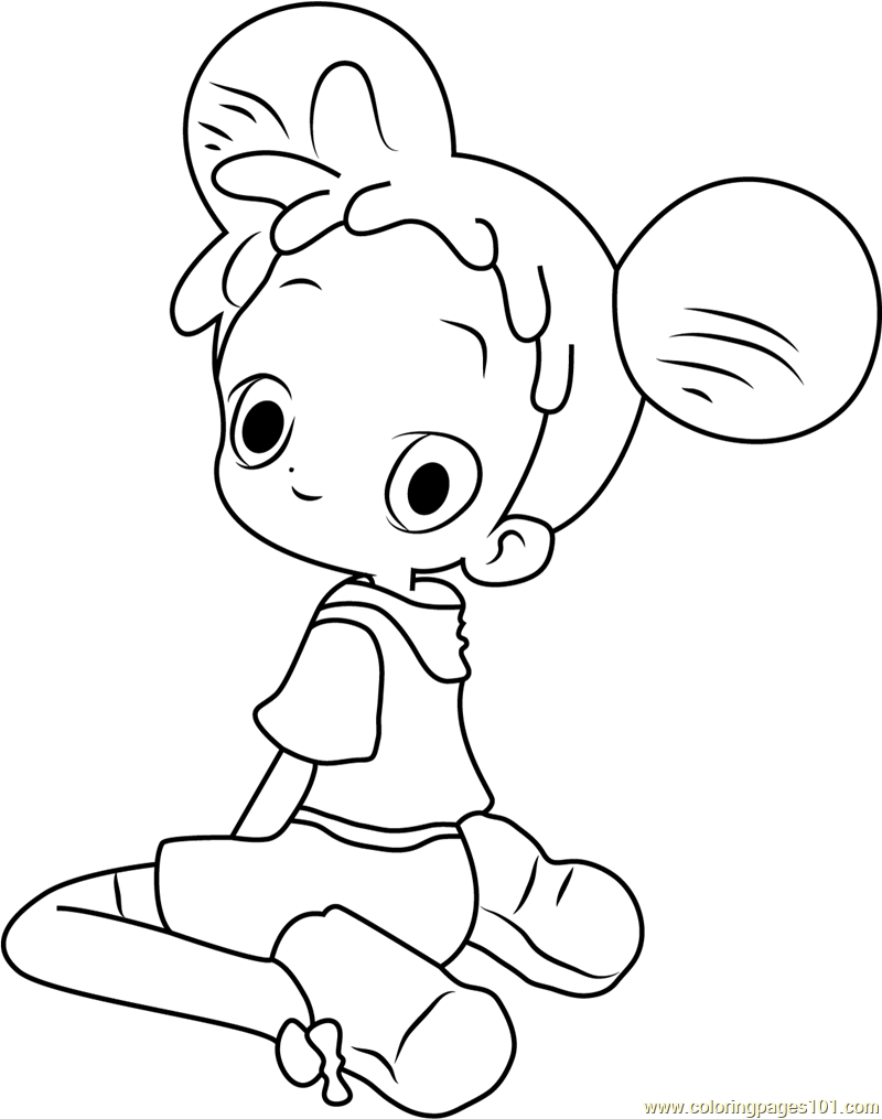 Sitting and Look Back Coloring Page