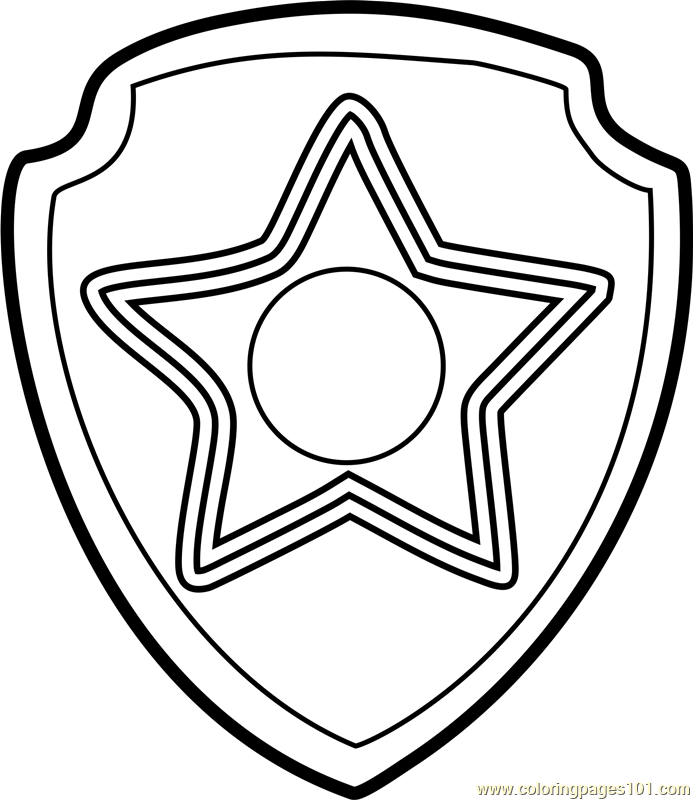 Chase Badge Coloring Page Free Paw Patrol Coloring Pages Badge Coloring Page