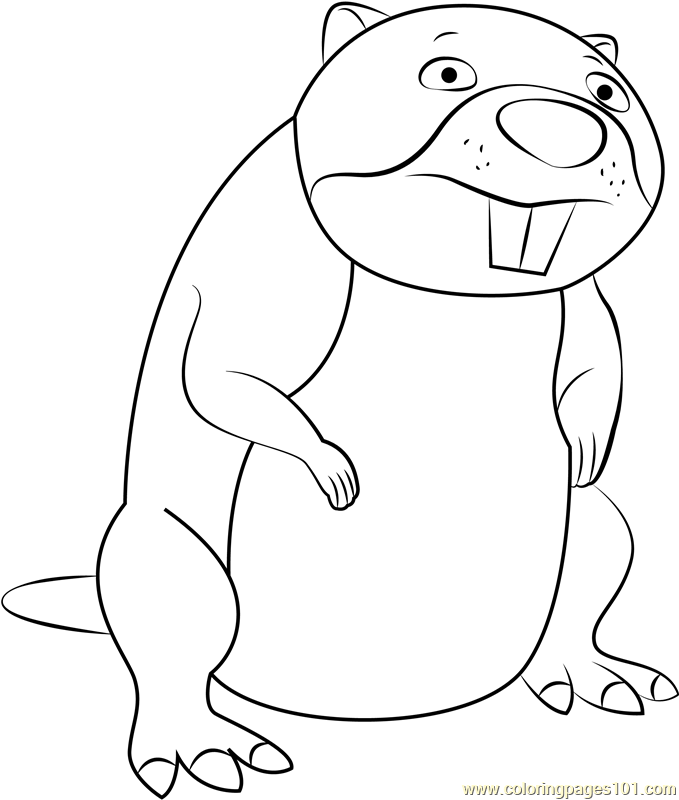 Chompy the Beaver Coloring Page