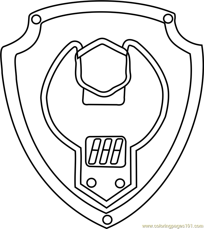 Rubble Badge Coloring Page Free Paw Patrol Coloring
