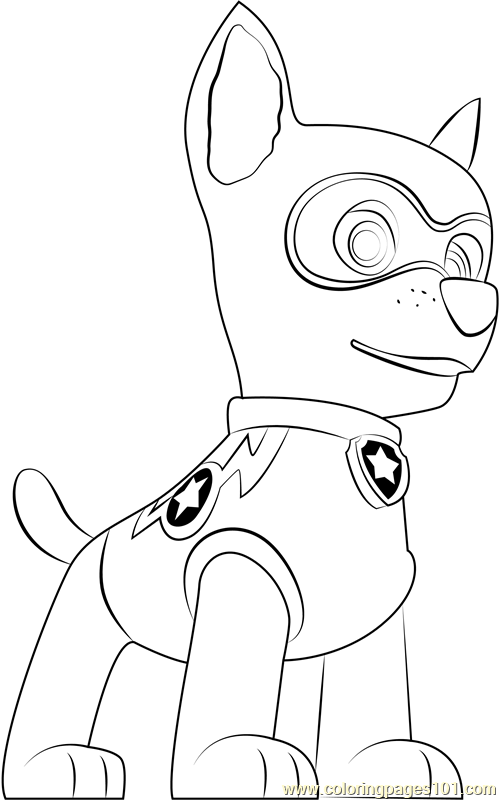Super Chase Coloring Page Free Paw Patrol Coloring Pages