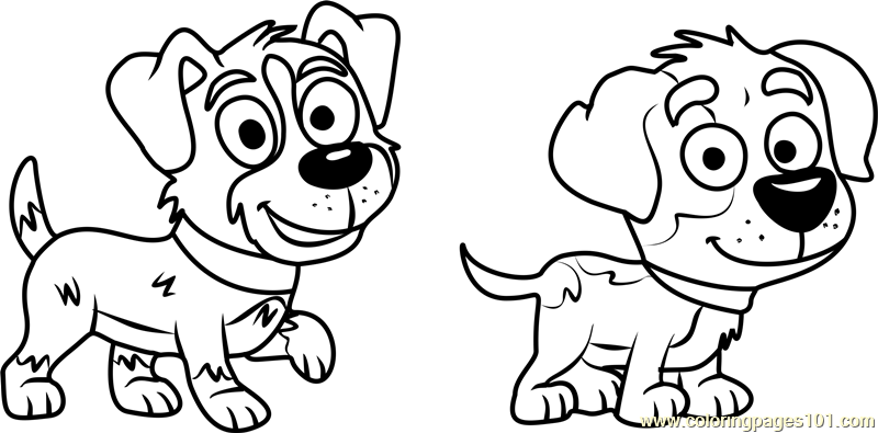 Pound Puppies Bart And Tony Coloring Page Free Pound