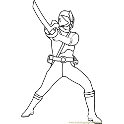 Blue Samurai Ranger Free Coloring Page for Kids