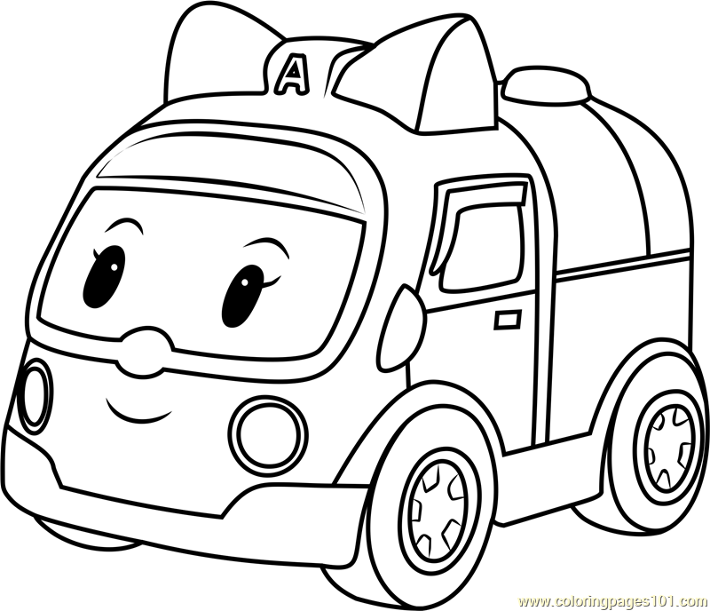 Amber amubulance coloring page free robocar poli for Robocar poli coloring pages