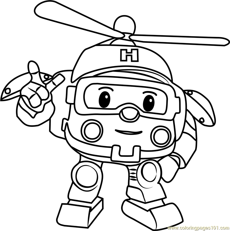 Helly Coloring Page Free Robocar Poli Coloring Pages