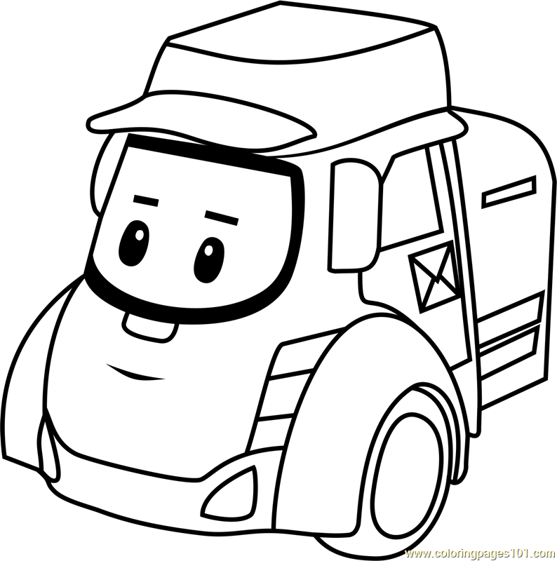 Posty Coloring Page Free Robocar Poli Coloring Pages