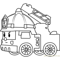 Roy Fire Truck Free Coloring Page for Kids