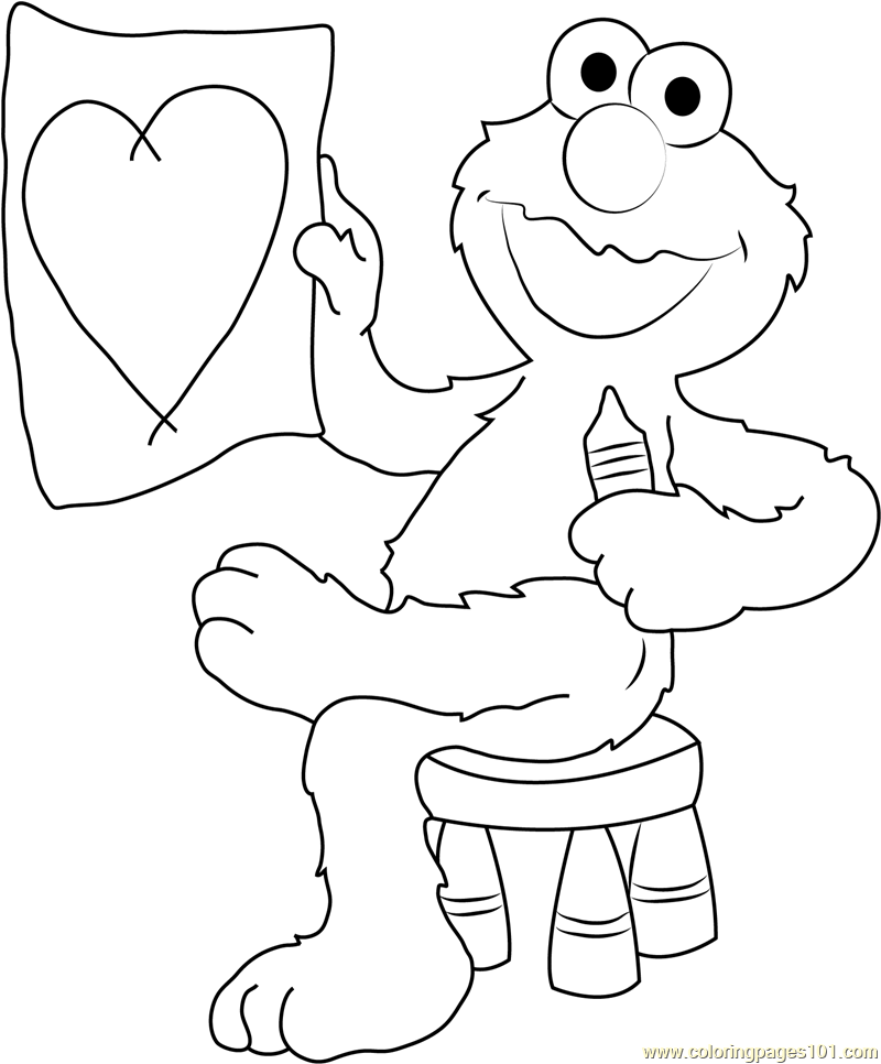 Elmo Draw Heart Coloring Page