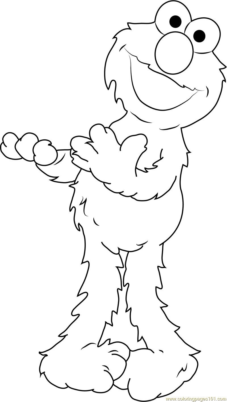 Elmo having Fun Coloring Page - Free Sesame Street ...