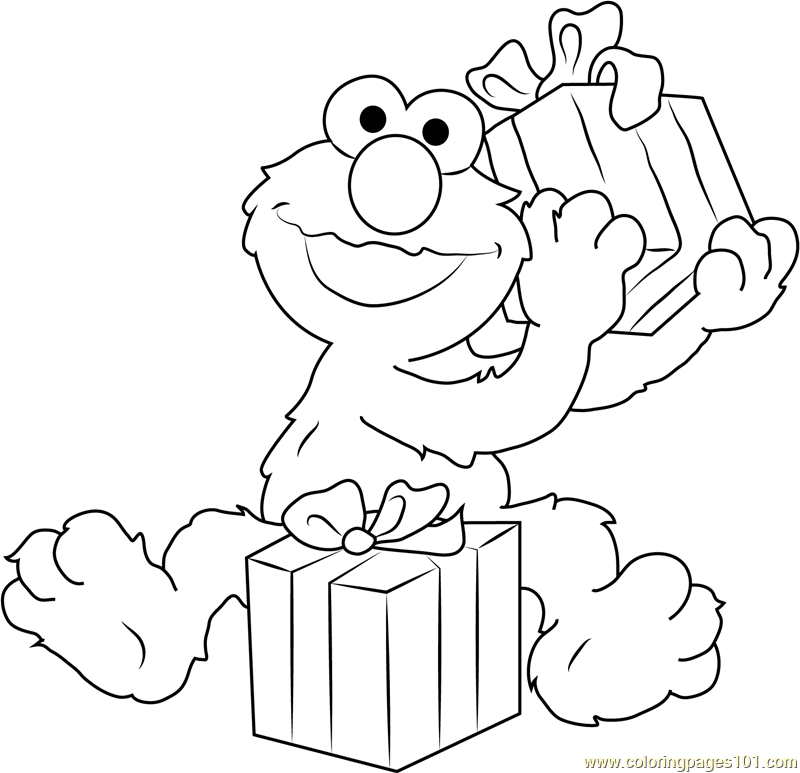 Happy Birthday Elmo Coloring Page
