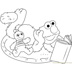 Elmo Reading Book Free Coloring Page for Kids