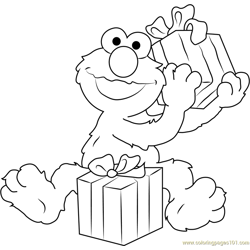Happy Birthday Elmo Free Coloring Page for Kids