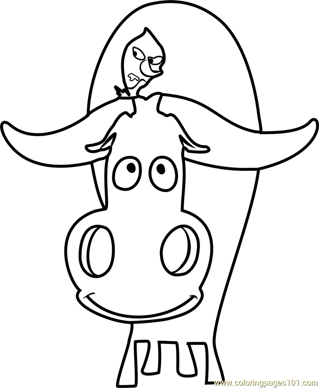 Ox and Bird Coloring Page