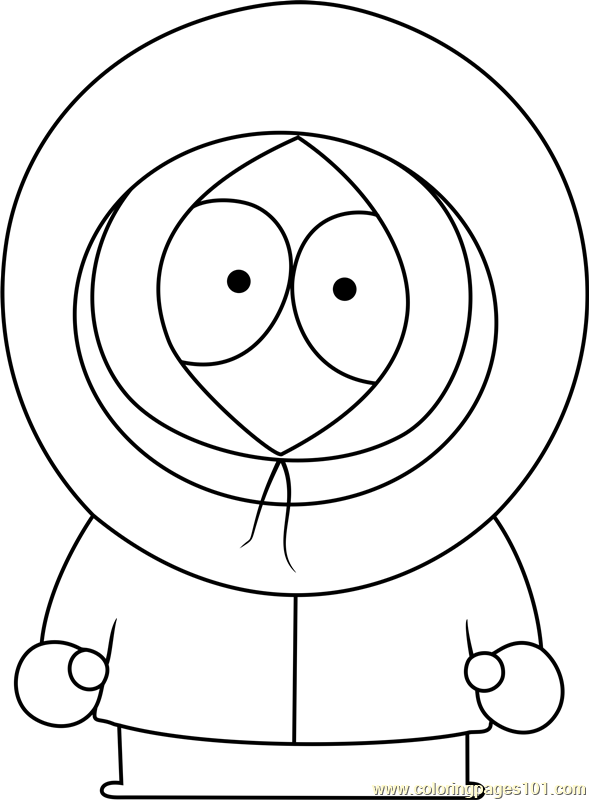 Kenny McCormick from South Park Coloring Page Free South Park