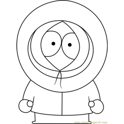 Kenny McCormick from South Park Free Coloring Page for Kids