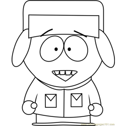 Kyle Broflovski from South Park Free Coloring Page for Kids