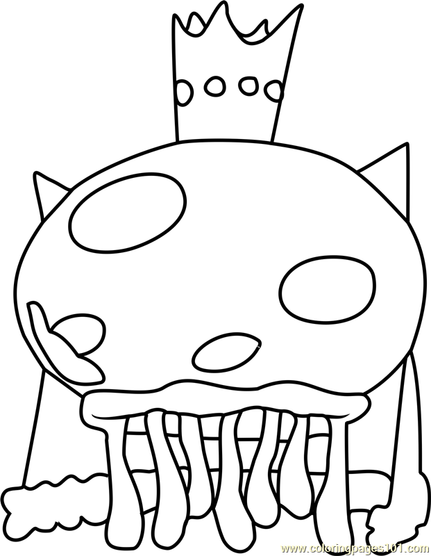 King Jellyfish Coloring Page Free Spongebob Squarepants