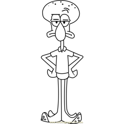 Squidward Free Coloring Page for Kids