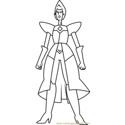 Yellow Diamond Full Body Steven Universe Free Coloring Page for Kids