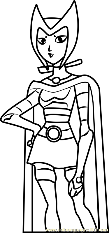 Blackfire Coloring Page Free Teen Titans Coloring Pages