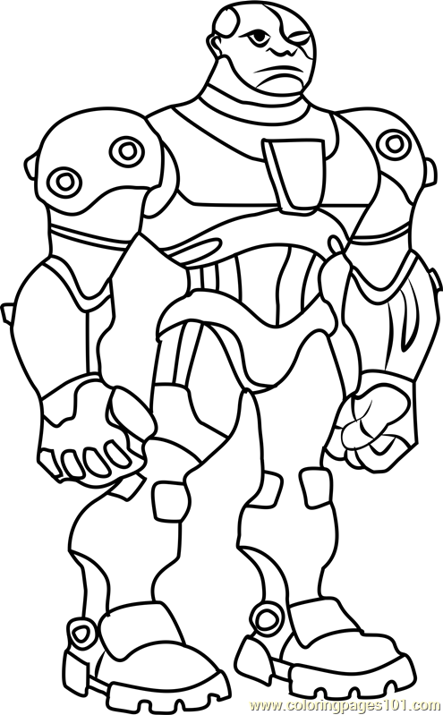 Cyborg Coloring Page Free Teen Titans Coloring Pages