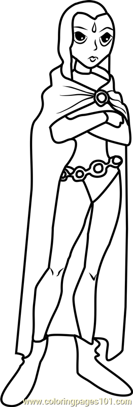 Raven Coloring Page Free Teen Titans Coloring Pages