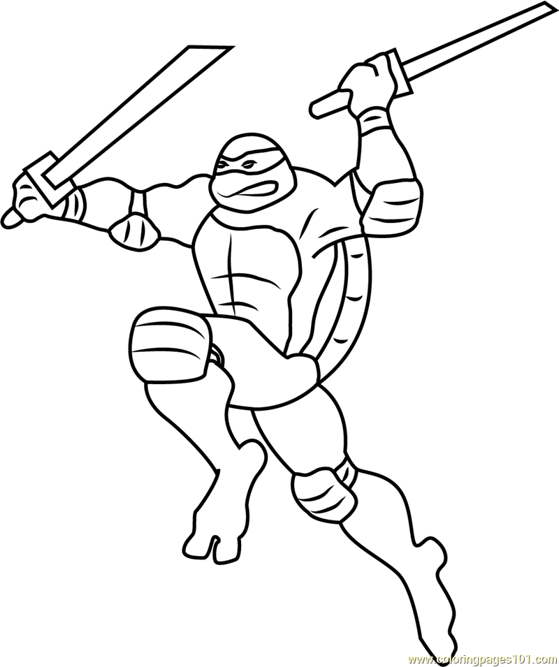 Leonardo Attacking Coloring Page Free Teenage Mutant