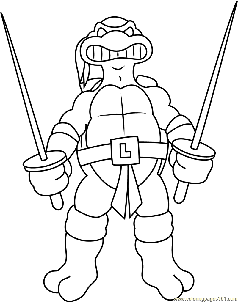 Leonardo With Swords Coloring Page Free Teenage Mutant