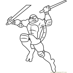 Leonardo Attacking Free Coloring Page for Kids