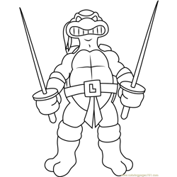 Leonardo With Swords Free Coloring Page for Kids