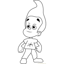 Cute Jimmy Neutron Free Coloring Page for Kids