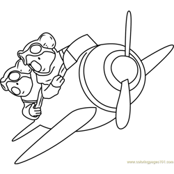 Frank and Buster in Plane Free Coloring Page for Kids