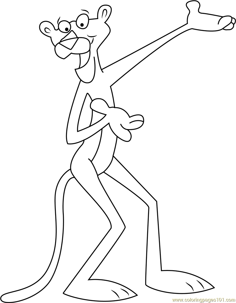 Happy Pink Panther Coloring Page