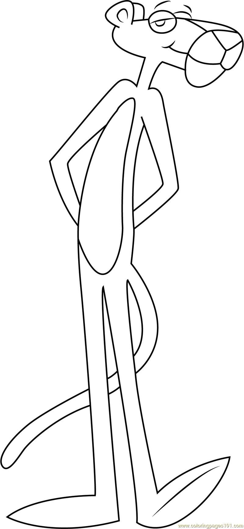 pink panther standing coloring page