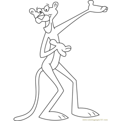 Happy Pink Panther Free Coloring Page for Kids