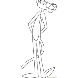 Pink Panther Standing Free Coloring Page for Kids