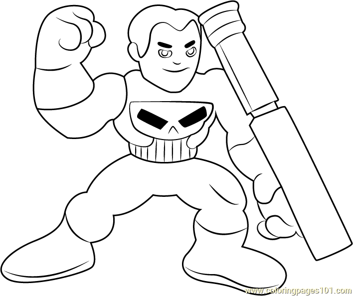 Punisher Coloring Page Free The