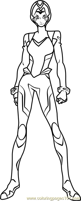 Allura With Helmet Coloring Page Free Voltron Legendary