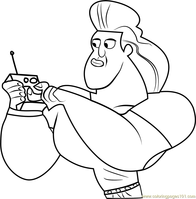 Dabio with Controller Coloring Page
