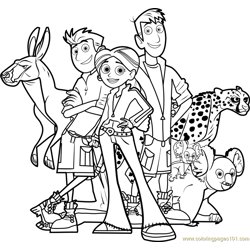 Wild Kratts Team Free Coloring Page for Kids