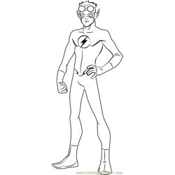 Kid Flash Free Coloring Page for Kids