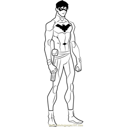 Nightwing Free Coloring Page for Kids